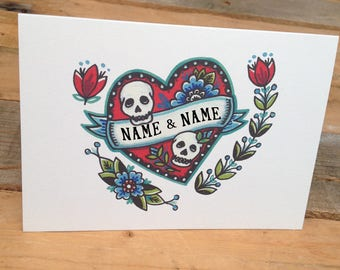 Personalised Wedding Card – Add your own names. 'Till Death Do Us Part' For the alternative couple getting married