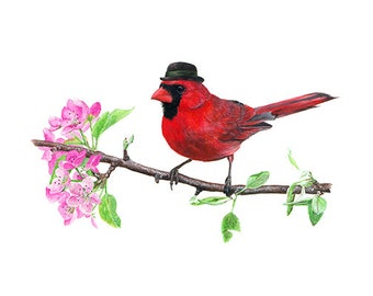 """No.15 - """"Northern Cardinal with Bowler"""" - high-quality 8x10"""" giclée fine art print, signed by artist"""