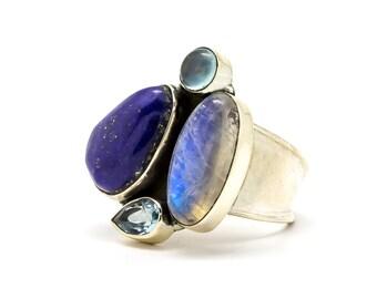 Blue ring - Gemstone ring - Statement ring- Free Shipping