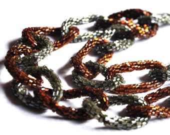 Vintage necklace woven seed beads chain links. Brown and gray