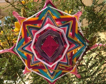 Princess Pink Mandala Godseye, 15 inch, 8 sided Ojo de Dios