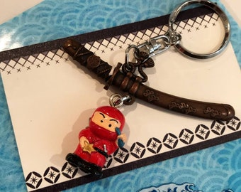 Japanese Ninja Keychain with Free Japanese Design Plastic Gift Wrapping and a gift note card
