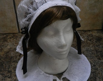 Girls/ladies florence nightingale, victorian bride style lacy bonnet and collar set