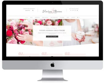 Feminine Wordpress Theme Vivien / Portfolio Theme / Genesis Child Theme / Woocomerce Theme / Photography Theme / Pink Black