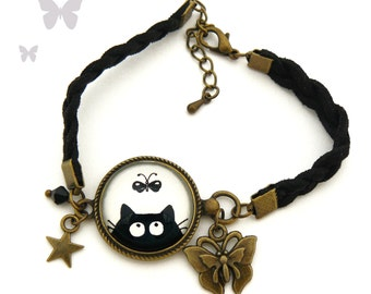 Cabochon cats black and Butterfly bracelet