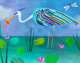 Blue Heron, Canvas Print, Florida Everglades Art for Beach House or Ocean Themed Room