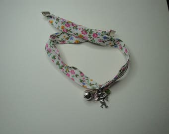 White, green, pink floral fabric bracelet