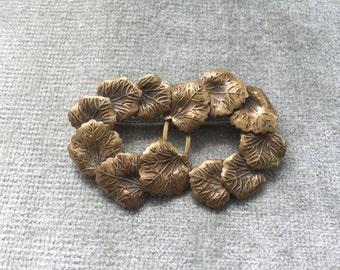 Art Nouveau Brass Double Wreath Brooch Pin / 1920s /1930s