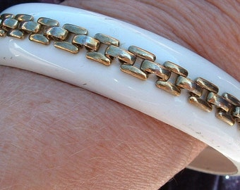 Vintage White Painted Metal Bangle Bracelet with Chain Accent