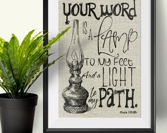 Bible verse | Your word is a light to my path | Psalm 119:105 | Burlap Print , Wall decor.