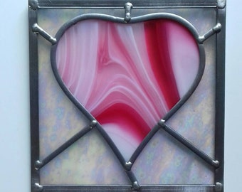 Traditional technique, handmade stained glass heart panel.