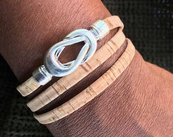 NEW!!! Cork Wrap Bracelet, Flat Folded Vegan Style , Knot Twist Leather Bracelet, Layering Bracelet, Gift for Her, Bohemian Chic