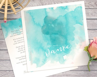 Thank you card for a wedding | with image | Vintage | Pastel and watercolor look