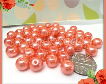 50 Pretty Coral Peach Glass Pearl Beads, 8mm Glass Pearl Beads, Coral Glass Beads, Peach Glass Pearls, Round Pearl Beads
