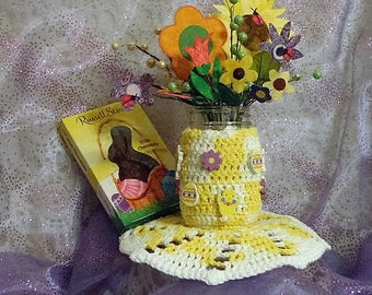 Spring/Summer Mason Jar with Holder, Doily, Flowers and Easter Accents