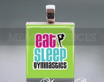 Eat, Sleep, Gymnastics Scrabble Tile Pendants with Silver Ball Chain