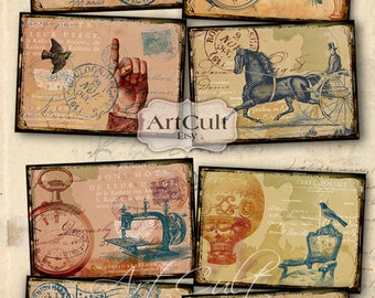 Digital Collage Sheet DISTRESSED PAPER BACKGROUNDS No2 Printable Download 2.5x3.5 inch size Vintage images for scrapbooking, paper goods