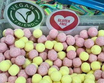 Gluten free Rhubarb and Custard bon bons chewy soft sweets 200gm/400gm