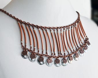 Boho Tribal Necklace Bohemian Necklace Copper Necklace Bib Necklace Womens Necklace Boho Necklace Tribal Jewelry Copper Jewelry