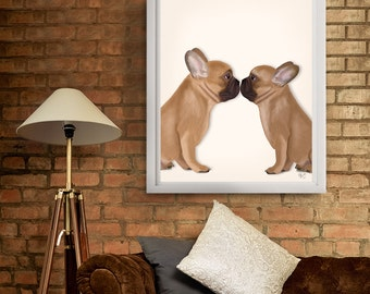 French Bulldog Kiss - Frenchie kiss - French bulldog print frenchie wall art french bulldog art valentines gift for couple romantic gift her