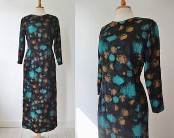 Lovely 50s 60s Vintage Brocade Maxi Dress // Black Brown Blue // Eline Odense // Made In Denmark