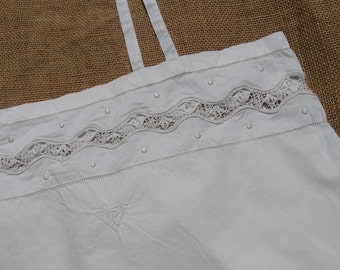 Victorian White Dress Lace Inlay Monogrammed Hand Embroidered Handmade French Cotton Slip Medium #SophieLadyDeParis