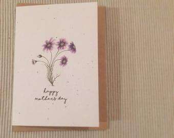 Customized hand drawn Seeded Flower Card plantable card