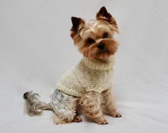 Dog Sweater | White with Pink Dots Knit Sweater | Hand knit dog sweater | Dotted sweater | Arlie | Dog cardigan