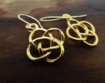 Celtic Knot Earrings Dangle and Drop Charm Earrings Beautiful 24k Gold Vermeil Earrings Lovely Gift