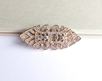 Rose Gold Art Deco Hair Clip, Vintage Inspired Crystal Barrette, Bridal Hair Clip, Wedding Jewelry