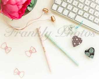 Instagram Square / Mint Green & Pink Lifestyle Image / Desktop Stock Photo / Styled Stock Photography / Flatlay / Frankly Photos File #35sq