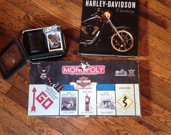 Harley Davidson Lot Book Monopoly Game Dice Cards