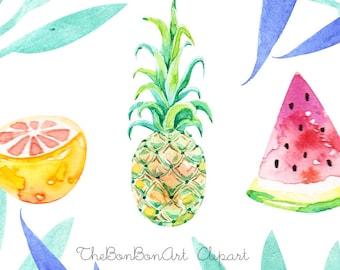 watercolor flower clipart. Tropical Clip Art. summer clipart. hand painted watercolor clip art. Summer floral clipart.Pineapple Clipart