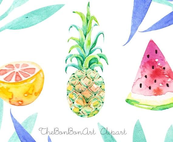watercolor flower clipart. Tropical Clip Art. summer clipart.