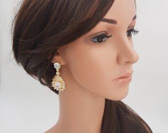 Bridal earrings, gold bridal earrings, wedding earrings, bridal jewelry, chandelier earrings, Gold Earrings, cz drop earrings, LILA