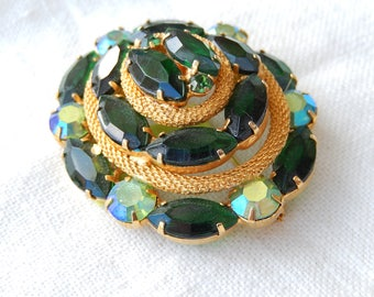 Vintage Brooch - Emerald Green Brooch - Dark Green & Gold Broach - Vintage Jewelry - Large Brooch - Two toned Green Oval Brooch