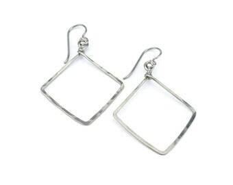 Niobium Square Earrings, Hammered Niobium Diamond Shaped Hypoallergenic Earrings for Sensitive Ears, Niobium or Titanium Earrings