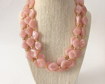 Blush Pink and Gold Chunky Statement Necklace