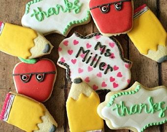 back to school cookies/gifts for teachers/teacher appretiaton/apples/one smart cookie/1 dozen