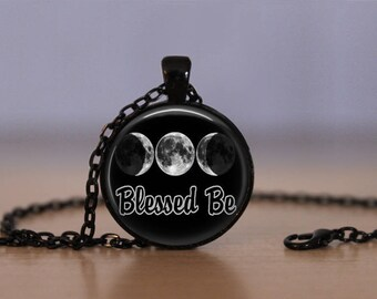 Wiccan Pendant Necklace Witchcraft Pagan Pentagram Black Cat Black Magic Jewelry Active