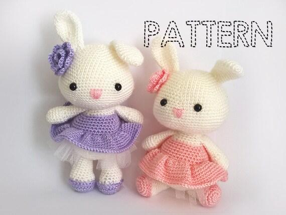 Amigurumi Patterns For Sale : Sale easter bunny in dress crochet patterns ballerina doll