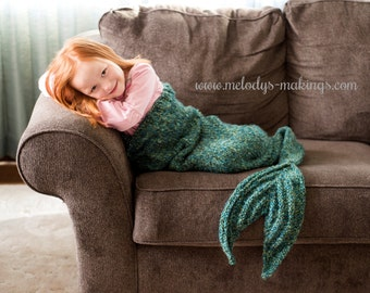 Child Mermaid Tail Lapghan Knitting Pattern - Child Mermaid Tail Knitting Pattern - Mermaid Tail Afghan Knitting Pattern
