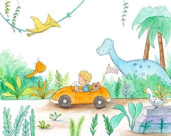 Dinosaur Drive - Curly Blond Boy Driving Car - Art Print - Children