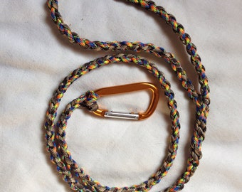 3ft multicolored leash with orange carabiner