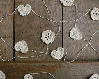 Crochet Garland, Wedding garland, crocheted hearts and flowers, Wall Hanging, Wedding crochet garland, embellishment cotton ecru applique