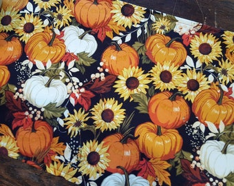 Autumn Table Runner Fall Leaves Pumpkins Sunflowers Padded