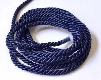 """Navy Twisted Cord Rope 3/16"""" (5mm) Braided Trim Satin Sheen Polyester Cord 1.50 Per Yard Crafts Supplies Jewelry Making (AP) FREE SHIPPING"""