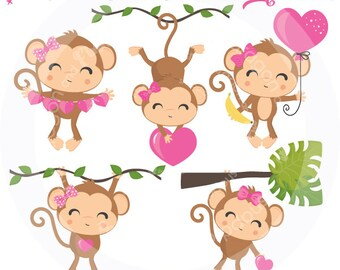 Valentine Monkey Girl Clipart, Valentine clipart, Valentine Clip Art, Girl Monkey clip art, monkey with bow, Commercial License Included