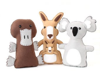 Stuffed Animal Softie Patterns, Aussie Animals, Plush Animals Australia, Felt Kangaroo, Platypus & Koala Bear Patterns, Easy