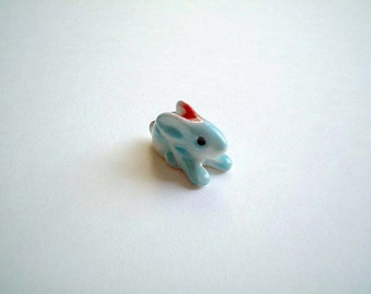 Little Light Blue Ceramic Bunny, ceramic rabbit, miniature animal, miniature, desk buddy, animal totem, tiny bunny, mini bunny, blue, baby